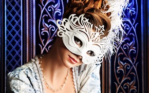 Picture look, girl, background, patterns, hair, dress, mask, hairstyle, decoration, neck