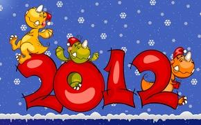 Wallpaper snow, snowflakes, new year, 2012, dragons