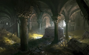 Picture castle, ruins, treasures, mummy, tomb, arch
