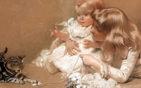 Picture children, kitty, the game, pastel, Charles Burton Barber