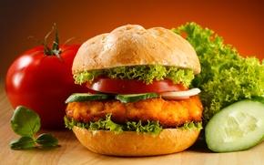 Wallpaper cucumber, tomato, hamburger, Fast food