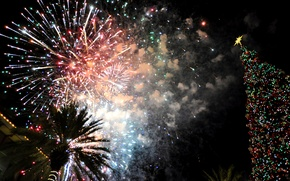 Picture lights, holiday, Christmas, fireworks, USA, Florida, Destin