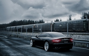 Picture the sky, black, tuning, the fence, train, sports car, maserati, gran turismo, drives, rear view, …