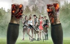 Picture cinema, fire, flame, zombie, gun, forest, undead, dress, legs, trees, smoke, weapon, dead, movie, Denise, …