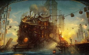 Picture river, anime, art, port, steampunk