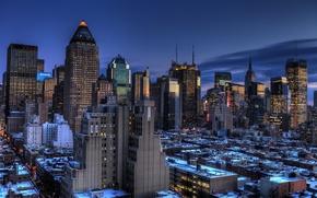 Picture new York, Manhattan, new york, usa, Blue Hour, Midtown