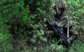 Wallpaper special forces, scope, uniform, rifle, soldier, camouflage, training, dressage, goggles, forest, gloves, man, US Army, ...