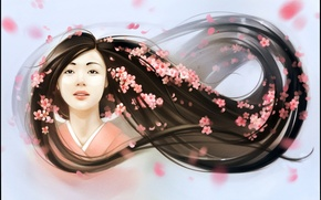 Picture girl, face, hair, spring, petals, art
