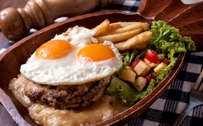 Wallpaper eggs, meat, vegetables