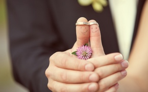 Picture flower, girl, creative, positive, ring, pair, clover, guy, faces, wedding, bokeh