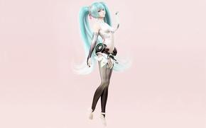 Picture girl, rendering, minimalism, Hatsune Miku, Vocaloid