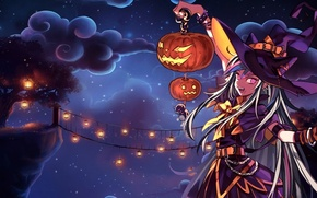 Picture the sky, girl, clouds, night, bridge, tree, holiday, hat, anime, art, lights, pumpkin, witch, halloween, ...