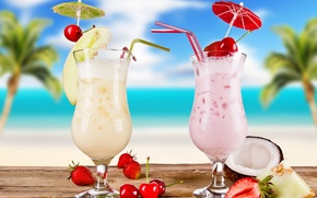 Wallpaper summer, cocktail, summer, food, melon, cocktail, fruits, glasses, coconut, strawberries, cherries, cocktails