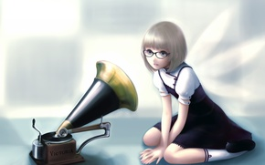 Picture anime, art, girl, the gramophone