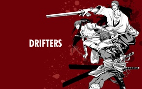 Picture weapons, anime, art, guys, red background, men, samurai, Drifters