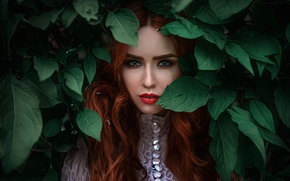 Picture background, makeup, redhead, bokeh, Nadia, George Chernyadev, Hope Niyazova