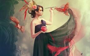 Picture birds, paint, Girl, brush, photo manipulation