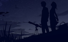 Picture the sky, stars, clouds, the wind, Night, bag, two, silhouettes, telescope