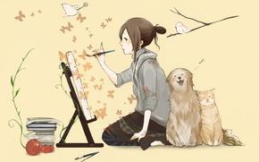 Picture cat, butterfly, birds, books, dog, girl, brush, draws, easel