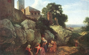 Picture landscape, rocks, picture, source, genre, Ariccia, Adrian Ludwig Richter