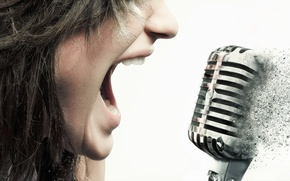 Picture girl, music, microphone