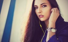 Picture Girl, Blue, Yellow, Headphones, Woman, View, Hair, Piercing, Lena, Clock, Smartphone, Raincoat