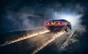 Picture Car, Fire, DeLorean, DMC-12, Rear, Ligth, Nigth, Back To The Future