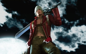 Wallpaper clouds, night, the moon, sword, the demon, demon, sword, night, Dante, DMC, clouds, hill, Dante, ...