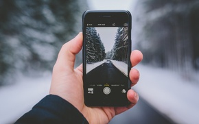 Picture winter, road, forest, snow, trees, landscape, photo, iPhone, hand, bokeh