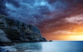 Picture sea, the sky, clouds, sunset, birds, rocks