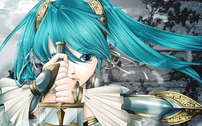 Picture girl, face, weapons, pattern, cross, sword, feathers, hands, vocaloid, hatsune miku, Vocaloid, blade, tails, chasing