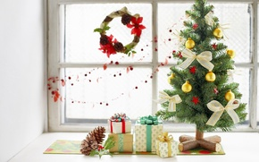 Wallpaper holiday, tree, new year, gifts, decoration, bow