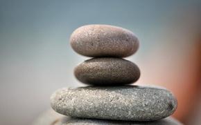 Picture pebbles, pebbles, grey pebbles, three stone, oval stones