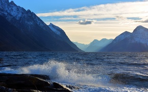 Picture sea, wave, the sky, clouds, landscape, mountains, squirt