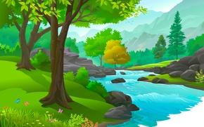 Wallpaper trees, water, river