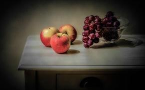 Wallpaper apples, grapes, vase, fruit, still life, table
