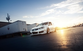 Picture white, golf, stance, mk5, Volkswagtn, fronte