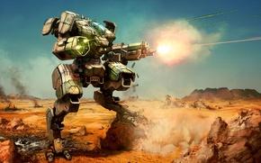 Picture fantasy, art, wallpaper., planeta, MechWarrior, battleTech, avtopushka shots of shells a beam of pulse laser, …