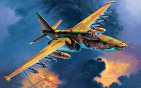 Picture art, airplane, painting, aviation, jet, Sukhoi Su-25