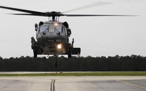 Picture helicopter, the airfield, the rise, UNITED STATES AIR FORCE, HH-60G, Pave Hawk, navigation lights