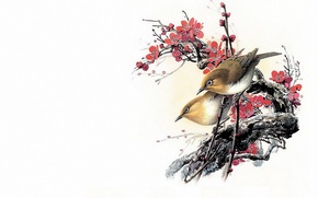 Picture flowers, bird, minimalism, branch, spring, East, Sakura, master, art, painting