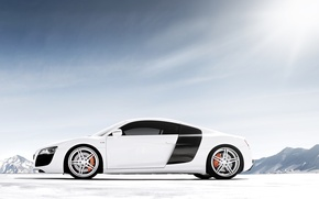 Picture white, the sky, mountains, Audi, Audi, tuning, supercar, drives, side view, tuning, V10, B10