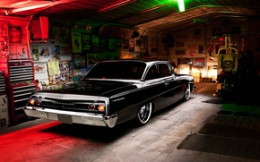 Picture Chevrolet, Light, Bel Air, Black, Tuning, Retro, 1962, Garage, Rear
