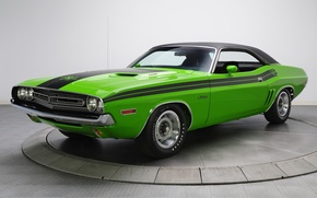 Picture background, Dodge, 1971, green, Dodge, Challenger, classic, the front, Muscle car, Magnum, Muscle car, R/T, ...