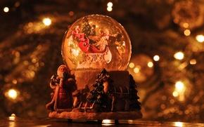 Wallpaper snow globe, santa claus, sleigh, christmas, reindeer