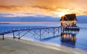 Picture beach, sky, sea, sunset, clouds, sun, romantic, pier, candles, hut, smoochy