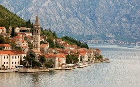Picture sea, the city, Adriatica, Montenegro, Perast