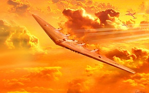 Picture flight, bomber, Northrop, experimental, flying wing, XB-35