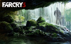 Picture Far Cry 3, Moss, Silhouette, Waterfall
