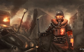 Picture machine, the wreckage, metal, the city, weapons, fire, blood, the fence, mask, art, soldiers, lantern, …